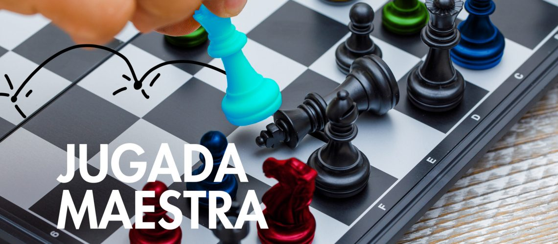 Business strategy concept on wooden background hand moving chess figure in competition.