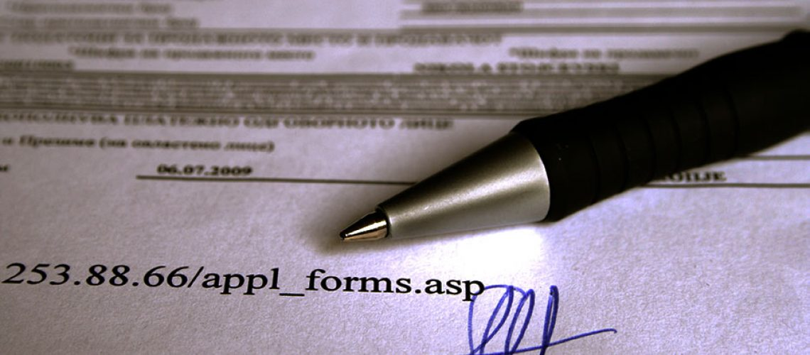 Application form and signature